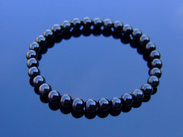 Black Obsidian Natural 6mm Gemstone Bracelet 6-9'' Elasticated-Gemstone Bracelets-Michael's UK Jewellery