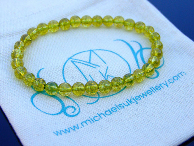 Peridot A Natural 6mm Gemstone Bracelet Beaded 6-9'' Elasticated-Gemstone Bracelets-Michael's UK Jewellery