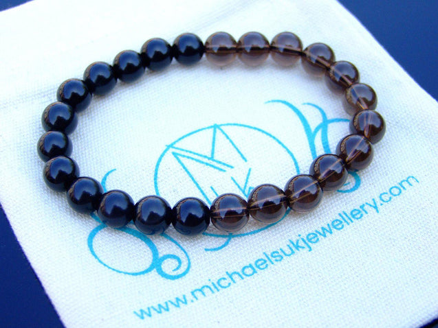 Black Obsidian Smoky Quartz Natural Gemstone Bracelet 6-9'' Elasticated-Gemstone Bracelets-Michael's UK Jewellery