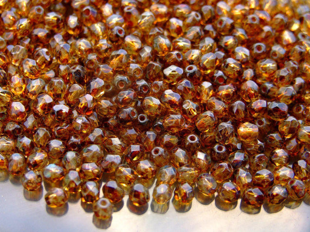1 Mass/approx. 1200 Fire Polished Beads 4mm Crystal Picasso WHOLESALE-Glass Beads-Michael's UK Jewellery