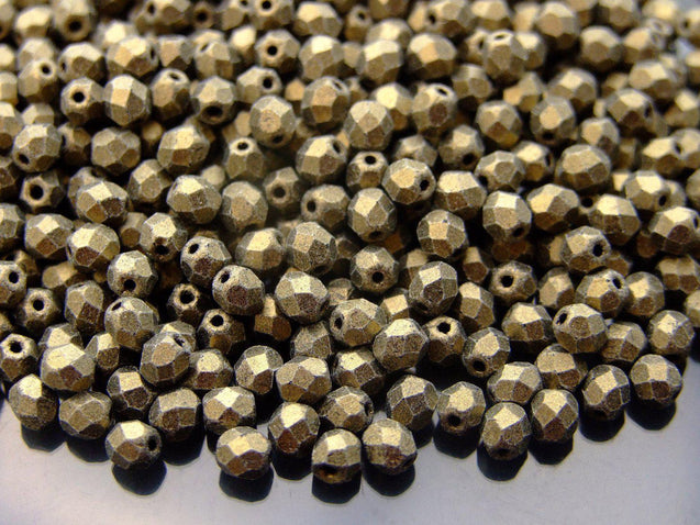 1200 Fire Polished Beads 4mm Metallic Suede Gold WHOLESALE-Glass Beads-Michael's UK Jewellery