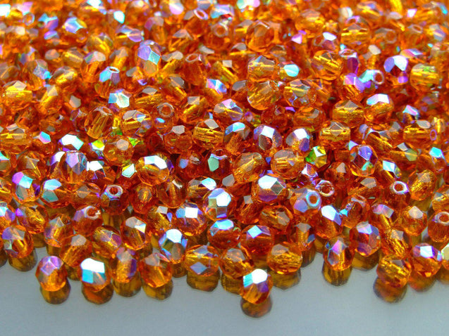 1 Mass/approx. 1200 Fire Polished Beads 4mm Dark Topaz AB WHOLESALE-Glass Beads-Michael's UK Jewellery
