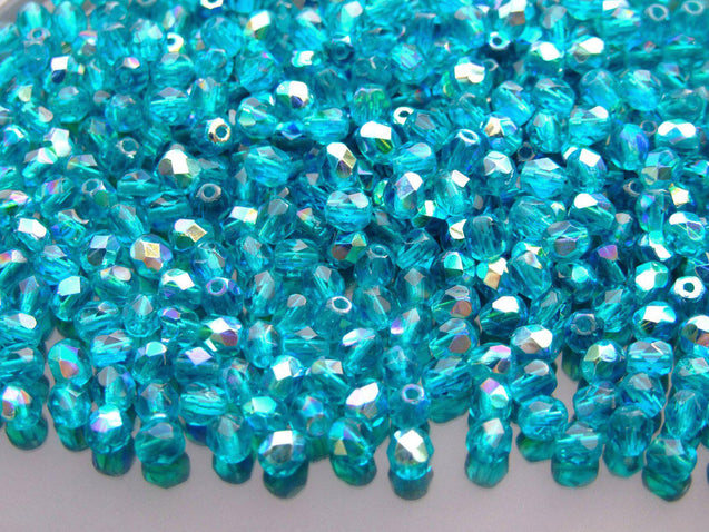 1 Mass/approx. 1200 Fire Polished Beads 4mm Teal AB WHOLESALE-Glass Beads-Michael's UK Jewellery