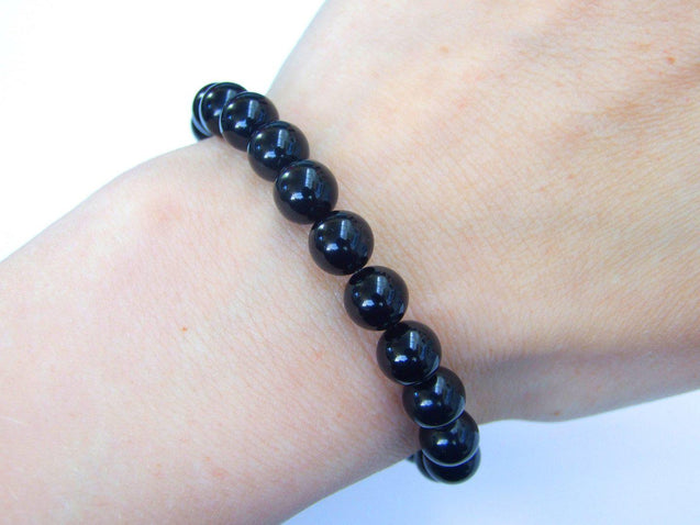 Morion Natural Gemstone Bracelet 6-9'' Elasticated-Gemstone Bracelets-Michael's UK Jewellery