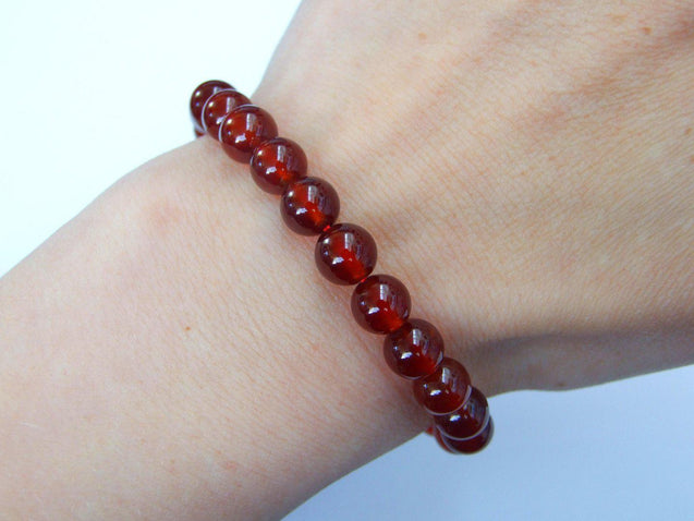 Orange Garnet Natural Gemstone Bracelet 6-9'' Elasticated-Gemstone Bracelets-Michael's UK Jewellery