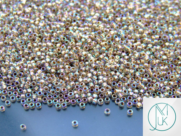 100g 994 Gold Lined Crystal Rainbow Toho Seed Beads 15/0 1.5mm WHOLESALE-Michael's UK Jewellery