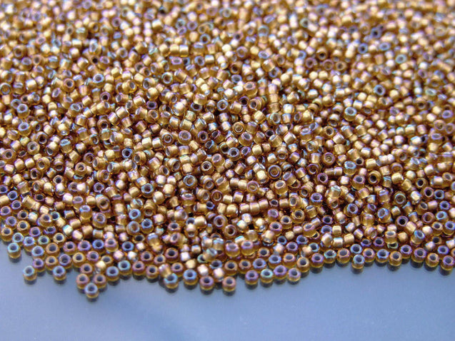 100g 278 Gold Lined Topaz Toho Seed Beads 15/0 1.5mm WHOLESALE-Michael's UK Jewellery