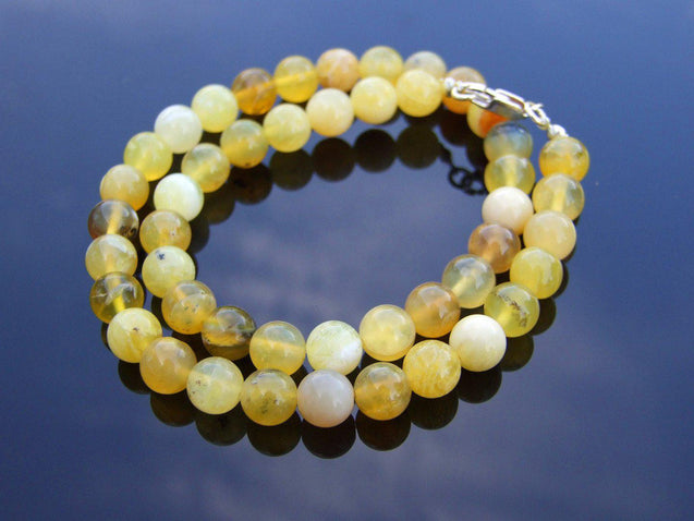 Yellow Opal Natural Gemstone Necklace 8mm Beaded Silver 16-30inch-Michael's UK Jewellery