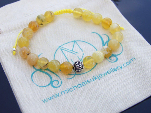 Yellow Opal Om Sterling Silver Natural Gemstone Bracelet 6-9'' Macrame-Gemstone Bracelets-Michael's UK Jewellery