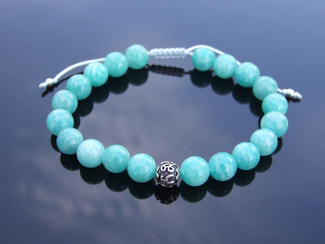 Mozambique Amazonite Om Sterling Silver Natural Gemstone Bracelet 6-9'' Macrame-Gemstone Bracelets-Michael's UK Jewellery