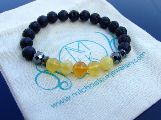 Yellow Opal and Lava Natural Gemstone Bracelet 6-9'' Elasticated-Gemstone Bracelets-Michael's UK Jewellery