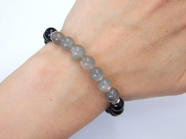 Fire Labradorite and Tourmaline Natural Gemstone Bracelet 6-9'' Elasticated-Gemstone Bracelets-Michael's UK Jewellery