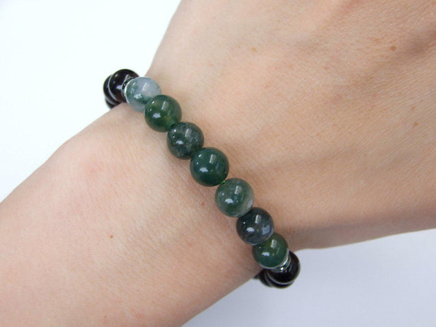 Moss Agate and Tourmaline Natural Gemstone Bracelet 6-9'' Elasticated-Gemstone Bracelets-Michael's UK Jewellery