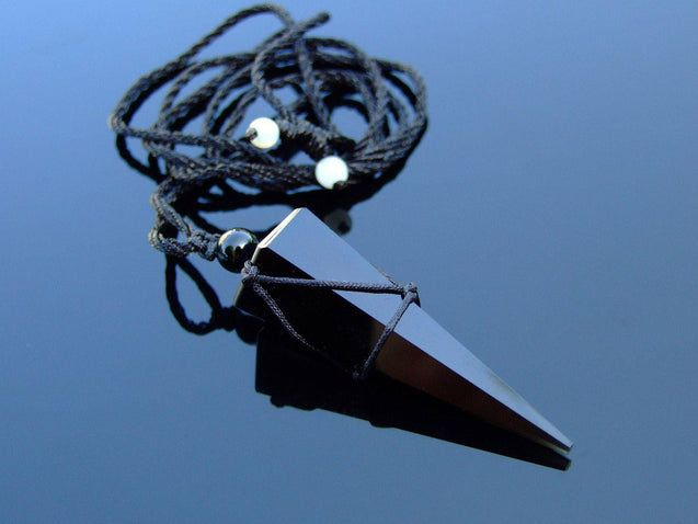 Black Obsidian Gemstone Point Pendulum Necklace-Michael's UK Jewellery