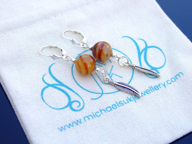Madagascar Agate Natural Gemstone Feather 925 Sterling Silver Earrings-Sterling Silver Gemstone Earrings-Michael's UK Jewellery