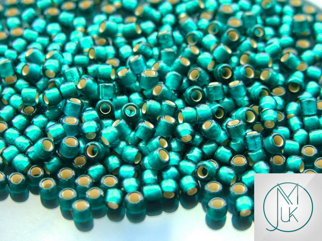 250g 27BDF Silver Lined Frosted Teal Toho Seed Beads 6/0 4mm WHOLESALE-Michael's UK Jewellery