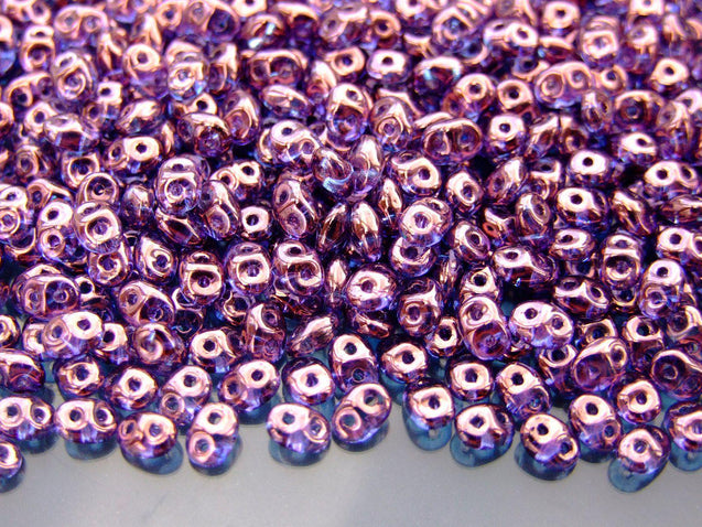10g SuperDuo Beads Transparent Amethyst Vega-Matubo Glass Beads-Michael's UK Jewellery