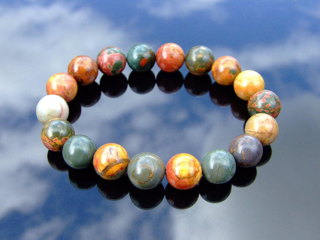Picasso Jasper 10mm Natural Gemstone Bracelet 6-9'' Elasticated-Gemstone Bracelets-Michael's UK Jewellery