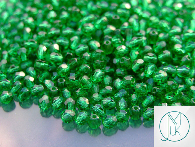 1 Mass/approx. 1200 Fire Polished Beads 4mm Green Emerald WHOLESALE-Glass Beads-Michael's UK Jewellery
