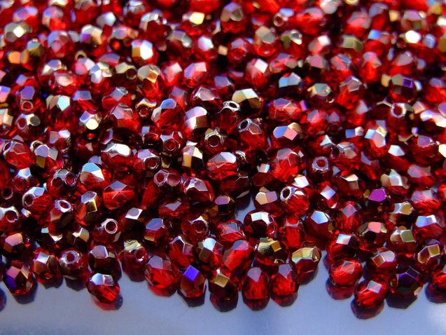 1 Mass/approx. 1200 Fire Polished Beads 4mm Purple Iris Siam Ruby WHOLESALE-Glass Beads-Michael's UK Jewellery