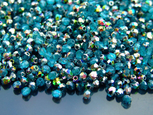 1 Mass/approx. 1200 Fire Polished Beads 3mm Teal Vitrail WHOLESALE-Glass Beads-Michael's UK Jewellery