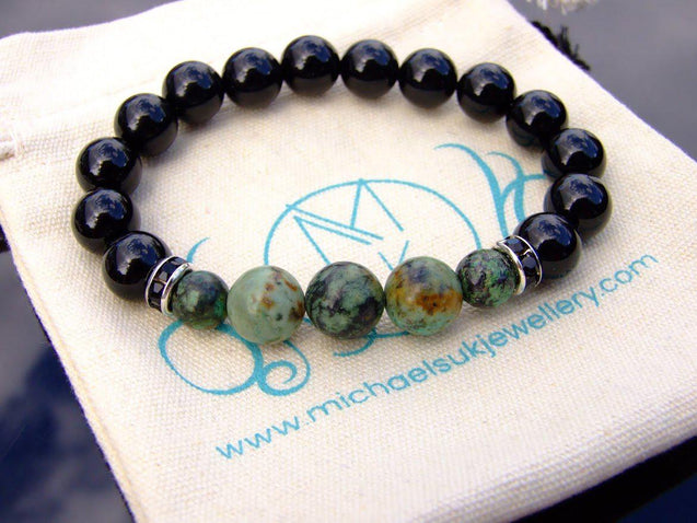 Tourmaline African Turquoise 10mm Natural Gemstone Bracelet 6-9'' Elasticated-Gemstone Bracelets-Michael's UK Jewellery
