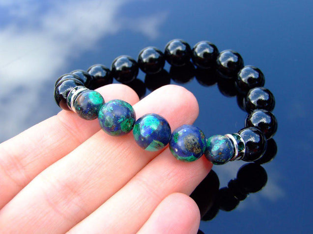 Tourmaline Azurite 10mm Natural Gemstone Bracelet 6-9'' Elasticated-Gemstone Bracelets-Michael's UK Jewellery