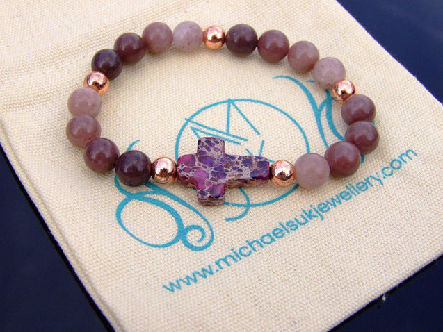 Purple Aventurine Cross Natural Gemstone Bracelet 6-9'' Elasticated-Gemstone Bracelets-Michael's UK Jewellery