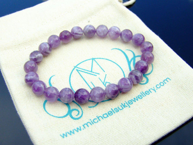 Fancy Amethyst Natural Gemstone Bracelet 6-9'' Elasticated-Gemstone Bracelets-Michael's UK Jewellery