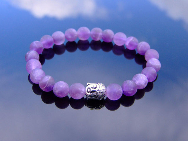 Buddha Matte Amethyst Natural Gemstone Bracelet 6-9'' Elasticated-Gemstone Bracelets-Michael's UK Jewellery