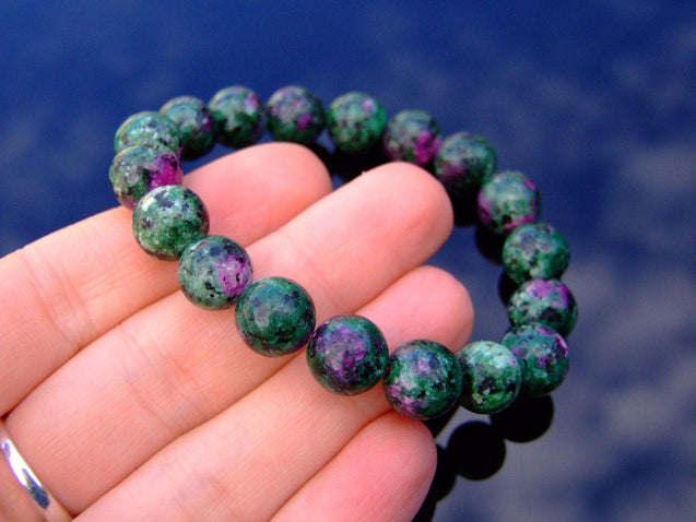 Ruby Zoisite 10mm Natural Dyed Gemstone Bracelet 6-9'' Elasticated-Gemstone Bracelets-Michael's UK Jewellery