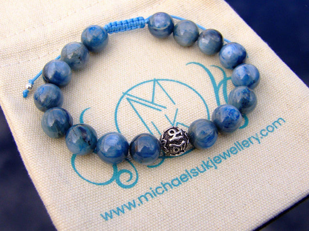 Kyanite Om Sterling Silver 10mm Natural Gemstone Bracelet 6-9'' Macrame-Gemstone Bracelets-Michael's UK Jewellery