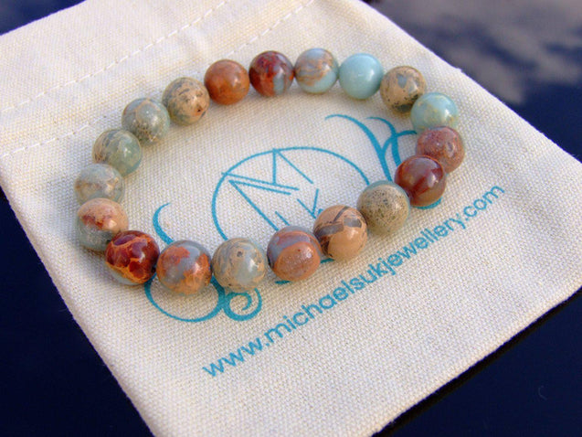 Aqua Terra Jasper 10mm Natural Gemstone Bracelet 6-9'' Elasticated-Gemstone Bracelets-Michael's UK Jewellery
