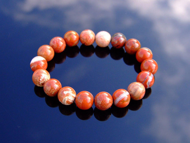 Brecciated Jasper 10mm Natural Gemstone Bracelet 6-9'' Elasticated-Gemstone Bracelets-Michael's UK Jewellery