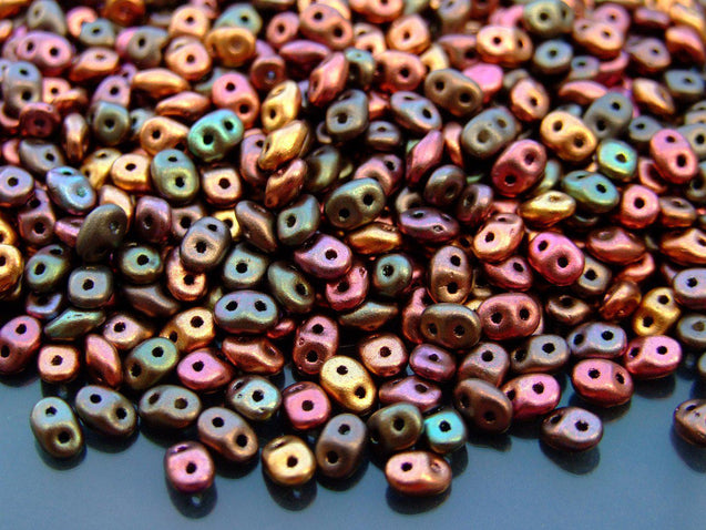 100g SuperDuo Beads Matte Metallic Bronze Iris Violet Rainbow WHOLESALE-Matubo Glass Beads-Michael's UK Jewellery