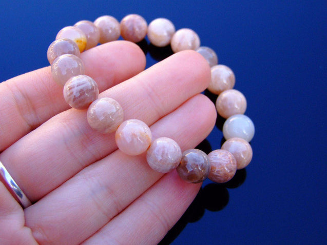 Sunstone 10mm Natural Gemstone Bracelet 6-9'' Elasticated-Gemstone Bracelets-Michael's UK Jewellery
