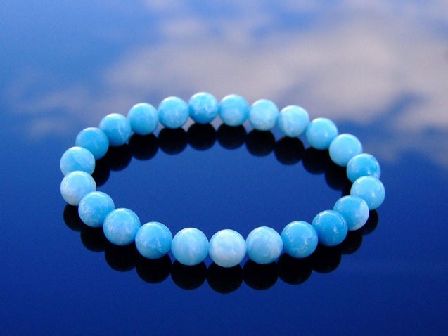 Chinese Larimar (Hemimorphite) Natural Gemstone Bracelet 6-9'' Elasticated-Gemstone Bracelets-Michael's UK Jewellery