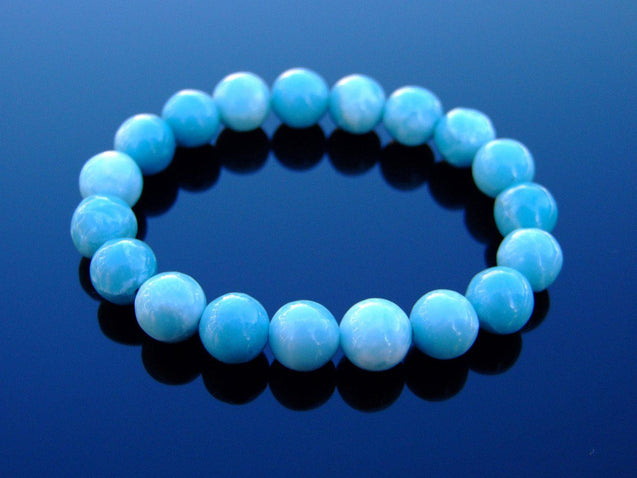 Chinese Larimar (Hemimorphite) 10mm Natural Gemstone Bracelet 6-9'' Elasticated-Gemstone Bracelets-Michael's UK Jewellery