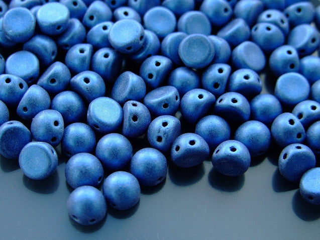 20x CzechMates Cabochon 7mm Metallic Suede Blue-Michael's UK Jewellery