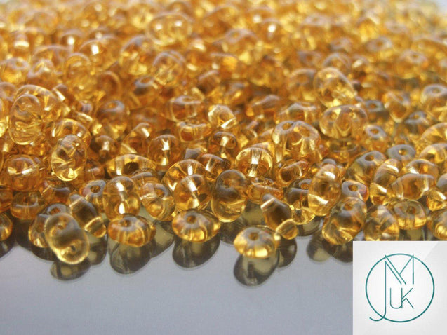 100g SuperDuo Beads Transparent Topaz WHOLESALE-Matubo Glass Beads-Michael's UK Jewellery