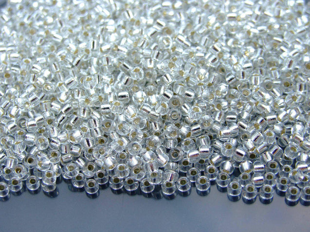 10g 91 Silver Lined Crystal Miyuki Seed Beads 8/0 3mm-Michael's UK Jewellery
