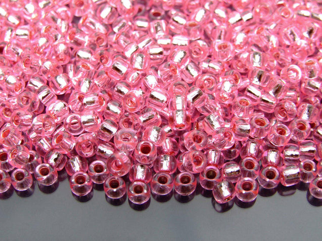 250g 38 Silver Lined Pink Toho Seed Beads 6/0 4mm WHOLESALE-Michael's UK Jewellery