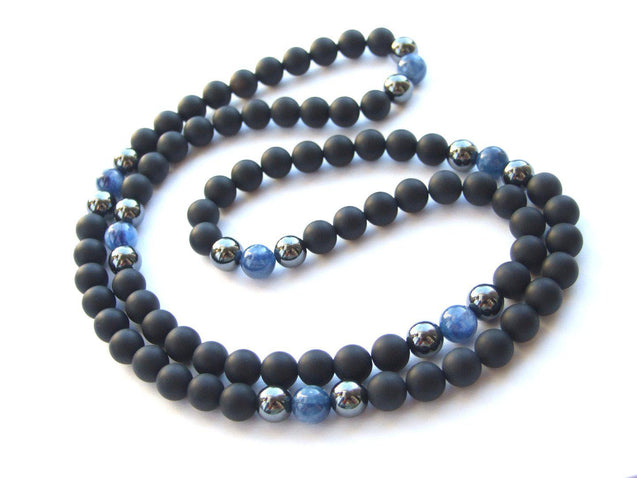 Men's Necklace 8mm Kyanite/Onyx Natural Gemstone Necklace 30inch-Gemstone Necklaces-Michael's UK Jewellery