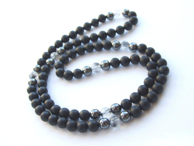 Men's Necklace 8mm Rutilated/Onyx Natural Gemstone Necklace 30inch-Gemstone Necklaces-Michael's UK Jewellery