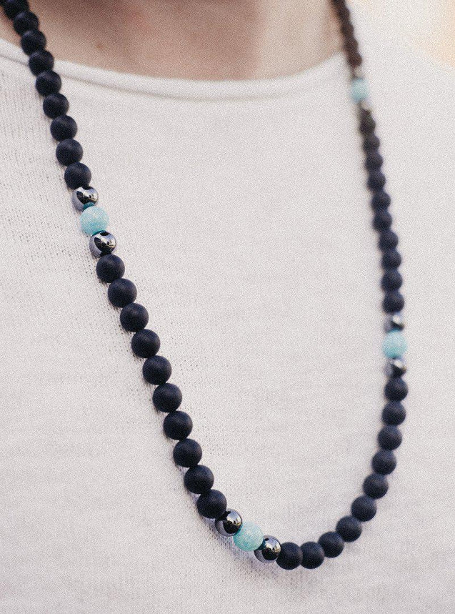 Men's Necklace 8mm Amazonite/Onyx Norbis Design Genuine Natural Beads 30inch-Gemstone Necklaces-Michael's UK Jewellery