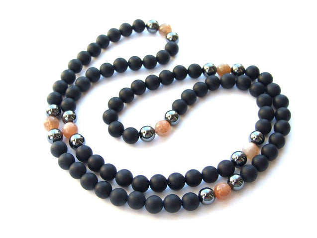 Men's Necklace 8mm Black Sunstone/Onyx Natural Gemstone Necklace 30inch-Gemstone Necklaces-Michael's UK Jewellery
