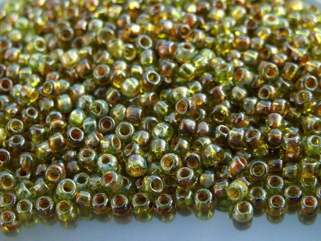 10g Y315 HYBRID Transparent Lime Green Picasso Toho Seed Beads Size 6/0 4mm-TOHO Glass Beads-Michael's UK Jewellery