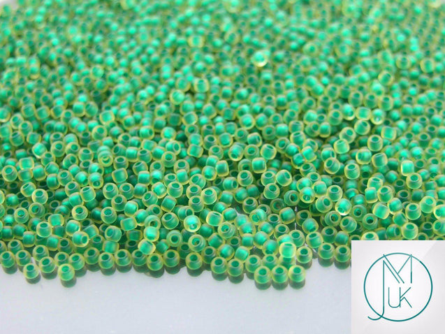 250g 242F Inside Color Frosted Jonquil/Emerald Lined Toho Seed Beads 11/0 2.2mm WHOLESALE-Michael's UK Jewellery
