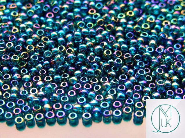 250g 167BD Transparent Teal Rainbow Toho Seed Beads 8/0 3mm WHOLESALE-Michael's UK Jewellery