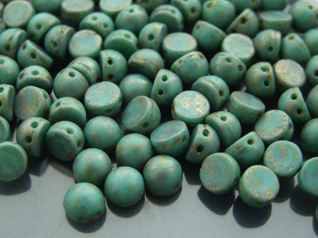 20x CzechMates Cabochon 7mm Turquoise Copper Picasso-Michael's UK Jewellery